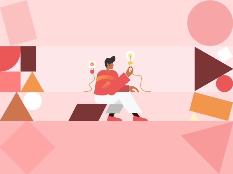 Vulcan Illustration Concepts – Creativity asymmetric sit guys light bulb bulb website landing page gradients ilustration illustration