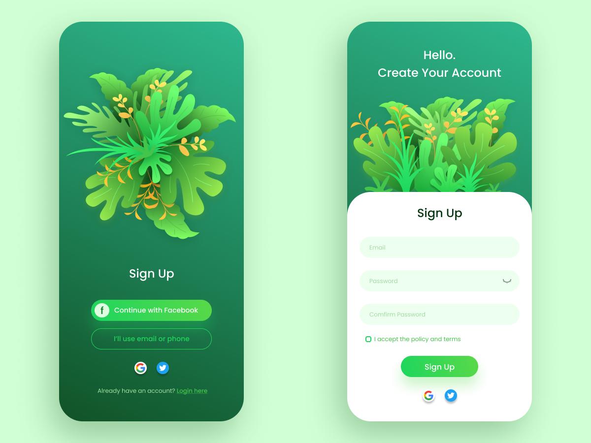 SignUp UI design ui illustration design uiux app design app mobile ui mobile app mobile signup dailyui