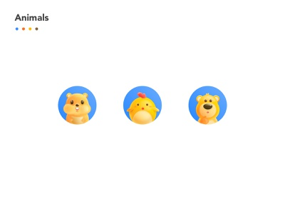 Hamster/chick/bear app illustration design ux ui