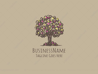 Fruitful Colorful Tree Logo