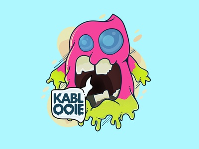 Kablooie monster icon cartoon character drawing 80s style photoshop illustrator slime scary cute branding vector logo design illustration motion 2d digital art colorful