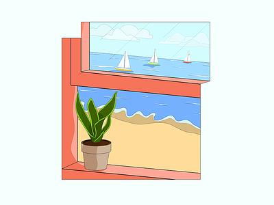 Breathe Crisp. flat window plant sailboat beach vector sketch simple poster minimal logo illustration icon graphic drawing design clean cartoon branding 2d