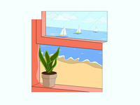 Breathe Crisp. flat window plant sailboat beach vector sketch simple poster minimal logo illustration icon graphic drawing design clean cartoon branding 2d