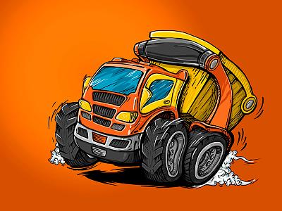 Truck truck comics cartoon car art illustration