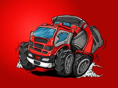 Fire Engine engine fire truck comics cartoon car art illustration