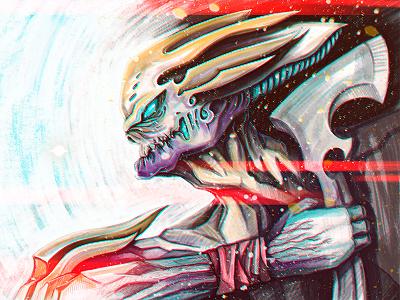Monster Ax warrior ax monster robot comics art illustration