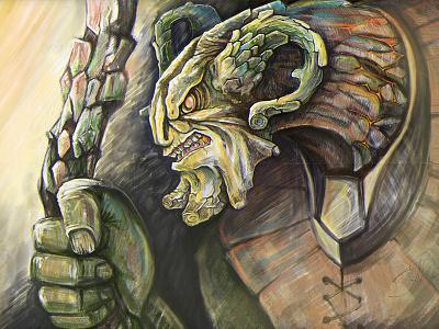 Monster Bark warrior ax monster robot comics art illustration