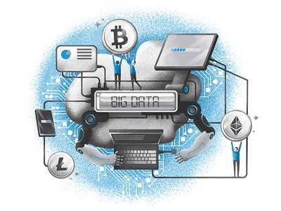 Big Data art bitcoin crypto-currency business illustration