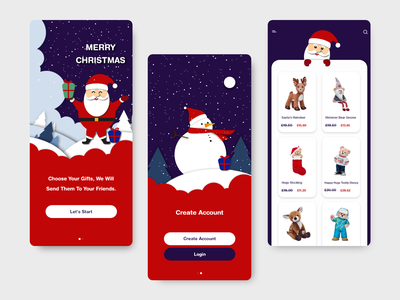 OnLine Shopping For Christmas happy new year illustration trend minimal modern christmas app christmas online mobile app design app red uiux ui design gift snowman santaclaus illustrator xd ui