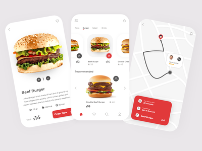 Fast Food Application UI fast location app uidesign online shop delivery app delicious modern shop application ui pizza burger design app design mobile minimal