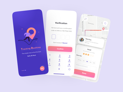 Taxi Booking App star signup map location drive driver driving blue vehicle car taxi logo illustration online mobile trend ui modern minimal