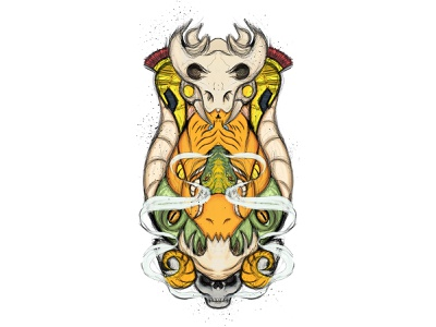 Multihead wacom illustration design sketch multihead goat horn frog dragon snake helmet warrior skull