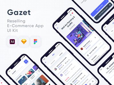 Gazet Reselling E Commerce App Design UI Kit ecommerce ui kit app design app ui kit gazet ecommerce app ui ux