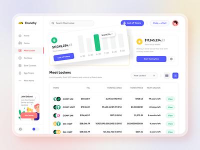 Crunchy DeFi LP Lockers & Vesting Screen bitcoin ethereum matloob mehrab web app dashboard stats banking finance blockchain