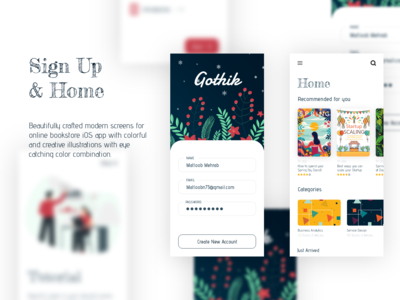 Gothik online book listening and reading app concept design