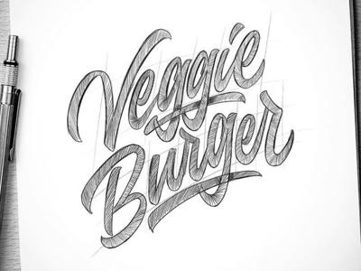 veggie burger burger branding logo typography hellodribbble logotype handlettering