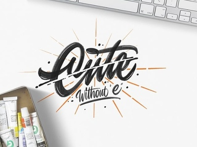 Cute Without e logo logotype typography handlettering