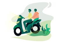 Riding To Work On A Motorcycle Together