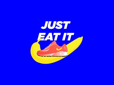 Nike - Banana -'Just eat it' trend new vibrant logo logodesign sport digitalart illustrator inks illustraion art banana shoes nike
