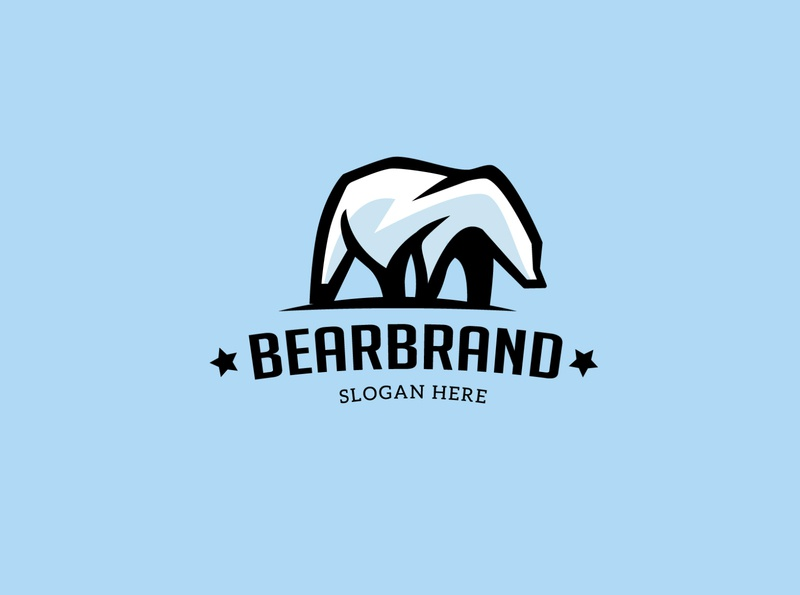 BEAR BRAND vintage logo beard mountain logo polar bear logo bear logo animal logo tiger bear media animal commerce monoline icon vector illustration branding company design logo