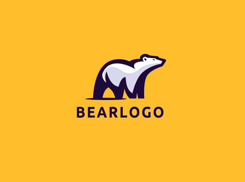 bear logo freeze fat creative cool cold blue big beast bear animals media animal commerce monoline illustration app branding company design logo