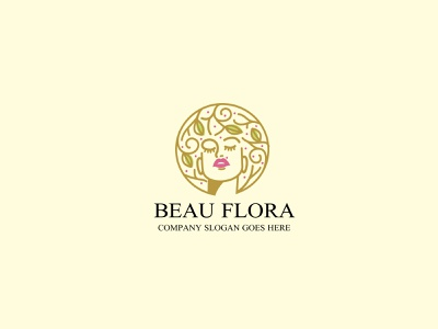 beauflora LOGO tree logo negative space hairstyle branding logo woman tree skincare skin care rough organic nature leaves leaf face cosmetics branches branch beauty