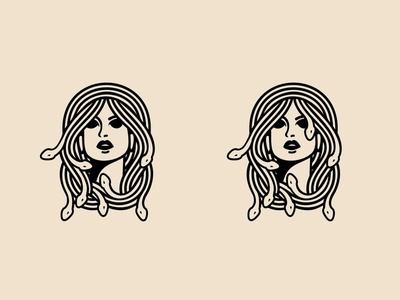 medusa woman snake hair logo beauty logo hairstyle hair salon monolinear monogram snake illustration mascot viper design snake logo logomark hair snake animal monoline vector illustration company branding logo