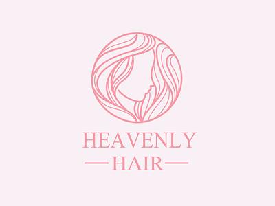 heavenly hair logo princess beautifull product skin elegant feminine logo minimalist nature hair logo haircut barbershop woman illustration lady woman monoline vector illustration design company branding logo