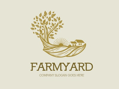 farmyard logo food illustration eco agriculture gardenscapes monogram logomaker logomark retro logo vintage logo wheat logo chicken logo poultry farm logo farmers market monoline vector illustration company branding logo
