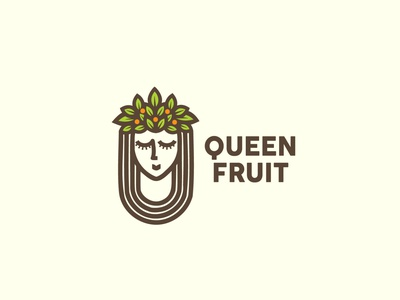 Queen fruit logo design food illustration redesign king logo fruit shop health vegan logo monogram logomark fruit logo queen logo woman shop icon monoline app vector illustration company branding logo
