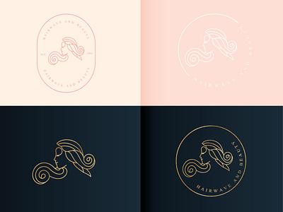 Hairwave and beauty logo app design company elegant luxury abstractlogo logodesign logomark feminine skincare beauty salon lineart monoline natural vector branding logo