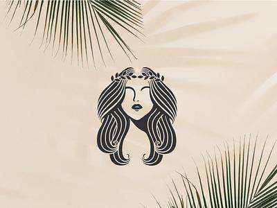 goddess logo gold monoline history app vector illustration design company branding logo