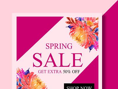 spring sale promotion social media graphic design app vector illustration design company branding logo
