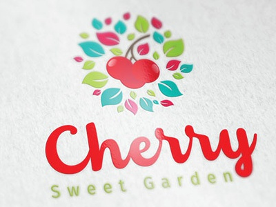 cherry logo pastry cake florist garden farm health vegan fruit cherry nature monoline commerce branding icon vector illustration design company app logo