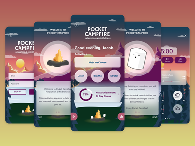 Pocket Campfire: Relaxation and Mindfulness mobile app design mobile ui meditation illustration app concept app design adobe xd ui design ui