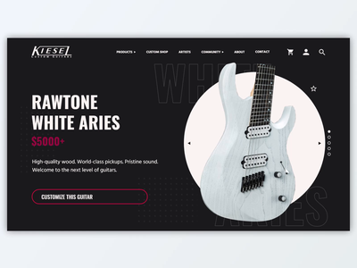 Kiesel Guitars - White Aries (animated UI concept) website concept web design after effects animation product page guitar kiesel ui design adobe xd
