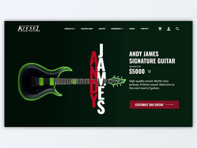 Kiesel Guitars - Andy James (animated UI concept) animation after effects guitars product page guitar ui kiesel ui design adobe xd