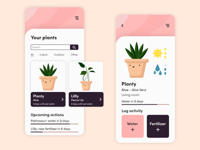 Lïf - plant care mobile app concept mobile app plant mobile illustration ui adobe xd ui design