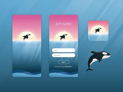 Orca UI/app icon concept illustration concept mobile app adobe illustrator orca logo illustration ui design adobe xd