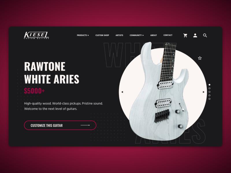 Kiesel Guitars UI Mockup [1/4] adobe xd ui design guitars kiesel web design ui