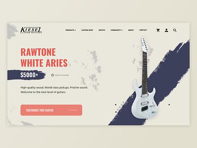 Kiesel Guitars UI Mockup [2/4] adobe xd kiesel guitar product page storefront web design ui design ui