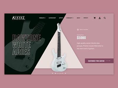 Kiesel Guitars UI Mockup [3/4] branding product page guitars guitar ui ui design kiesel adobe xd