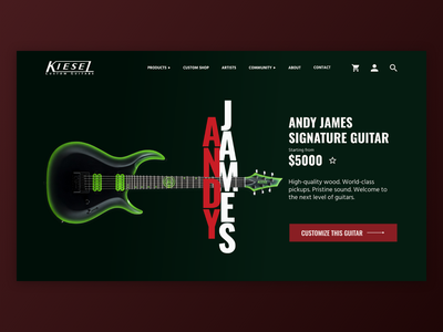 Kiesel Guitars UI Mockup [4/4] branding product page guitars guitar ui ui design kiesel adobe xd