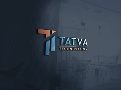 Tatva Technovation  3D Logo technology logo tech logo t logo 3d logos logotype logo design mokeup photoshop illustrator 3d logo logo