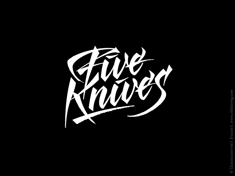 Five knives calligraphy logo by evgeny tkhorzhevsky dribbble