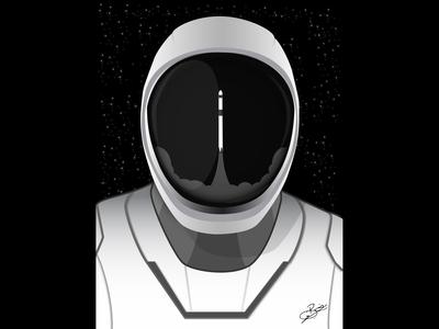 Starman Dragon Launch design illustration illustrator elonmusk nasa graphic design graphic launch starman spacex spaceman space