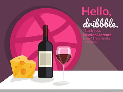 Hello Dribbble thank you card logo design logo illustration