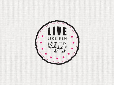 Live Like Ben stars rhino logo design pink