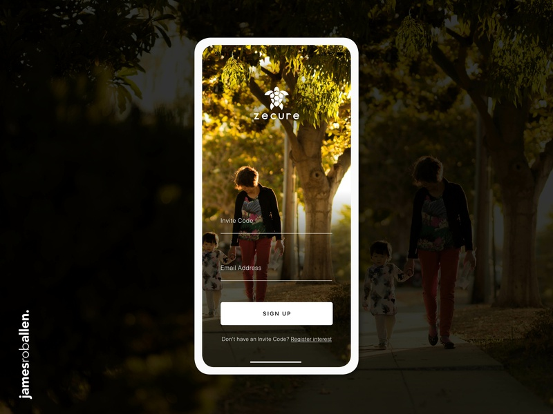 Zecure Personal Safety App Log In Screen