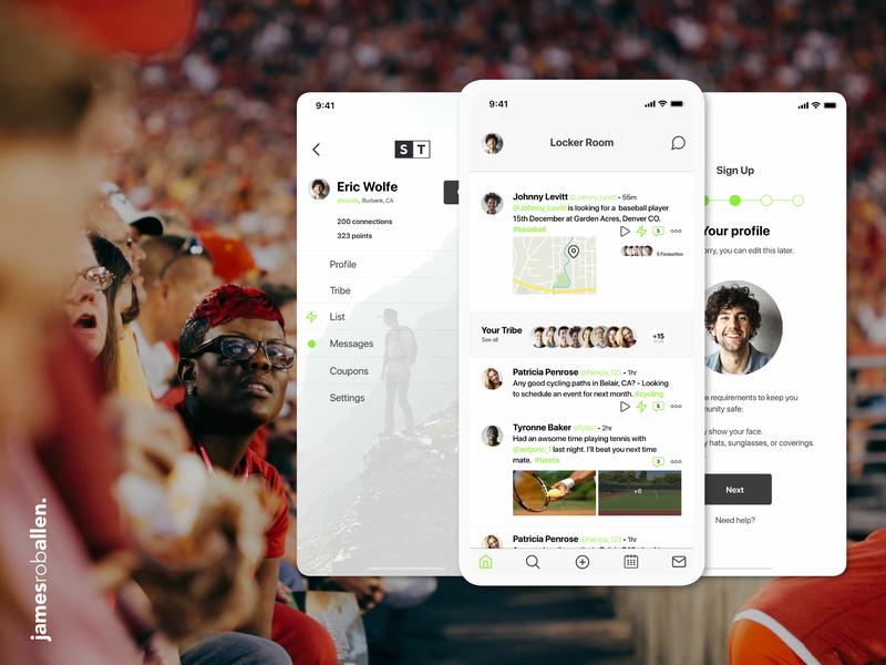 Sports Tribe App Concept app concept community social media app social network social media sports sport customer experience customer journey application ui application app ux ui design logo branding